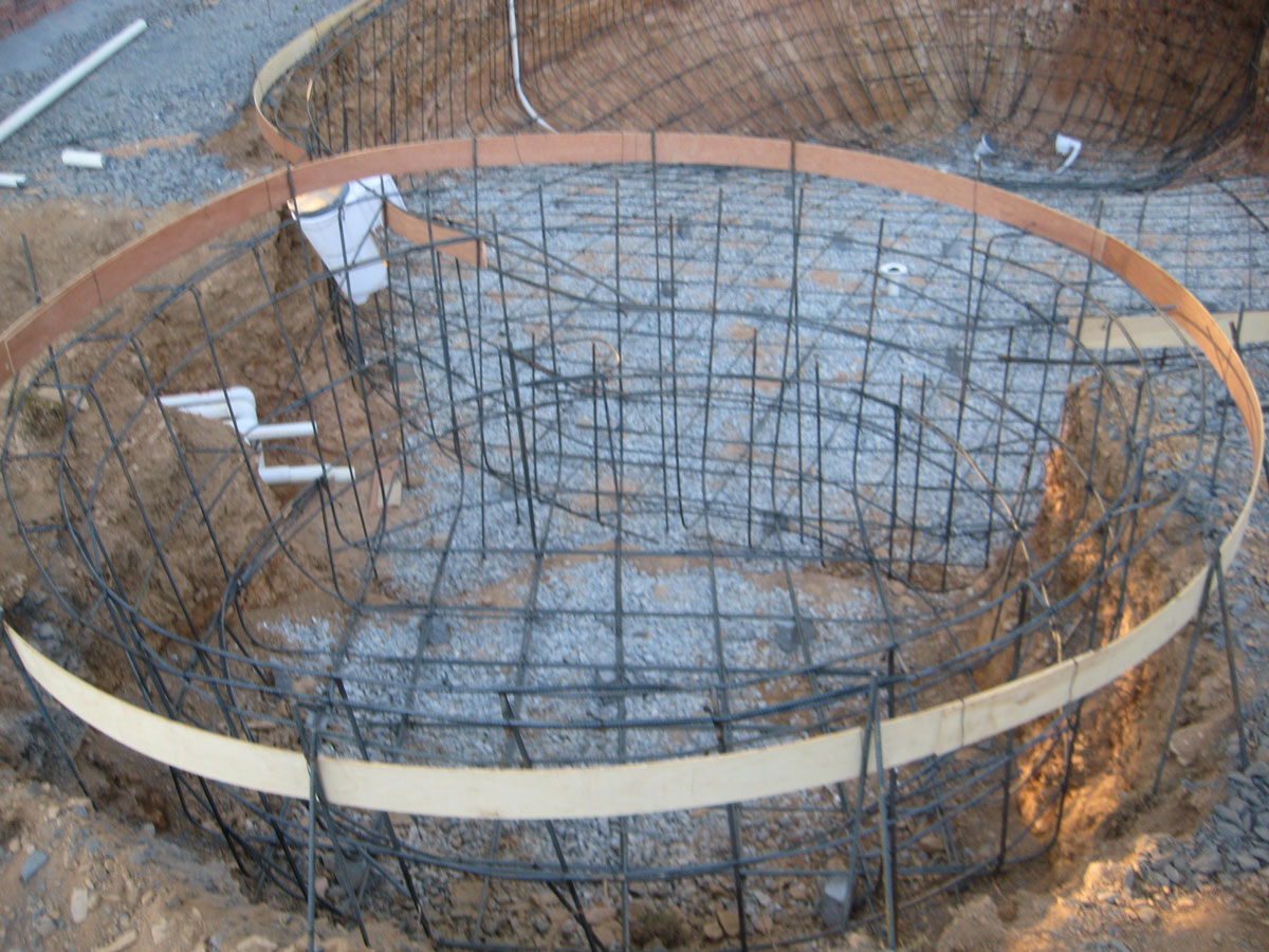 Wall Construction Page 3 Piping Layout Of Swimming Pool Day 50 You Can Barely See All The Pipe Returning To House On Left Hot Tub Is Complete Plumbing Currently Missing
